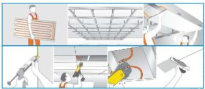 Diagrams on steps to fit ceiling system