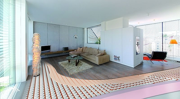 Photograph showing floor heating systems in a room with cut-away view