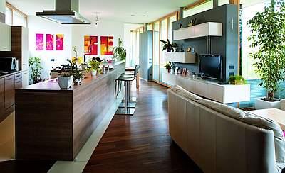 Küche mit Fussbodenheizung