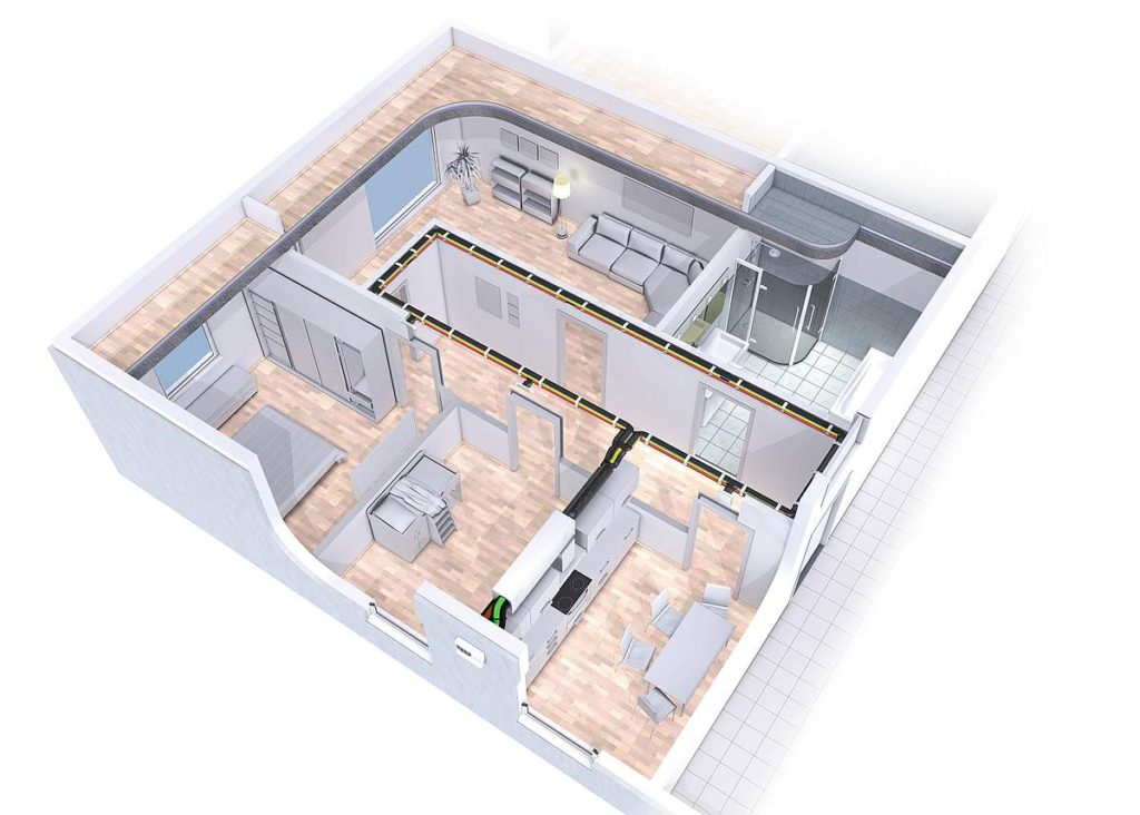Pluggit Ventilation-Zentralisiert - unter der Decke Montage Exemplar