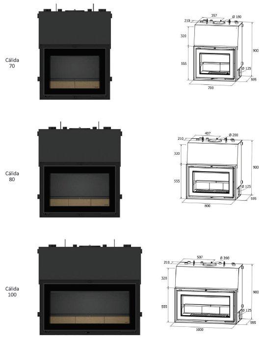 Cálida series dimensions