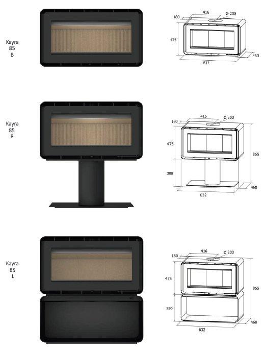 freestanding Kayra series dimensions