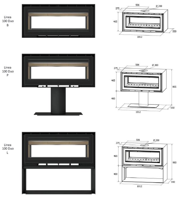 Freestanding Linea Duo 100 Series Dimensions