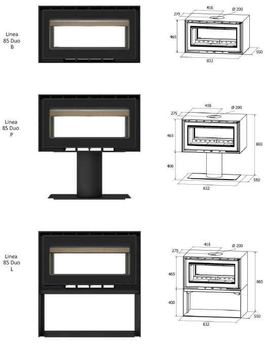 Freestanding Linea Duo 85 series dimensions
