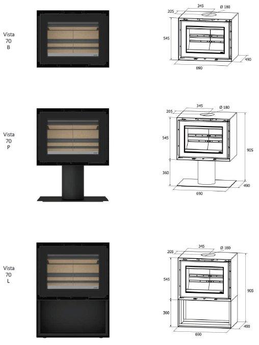 Freestanding Vista 70 series dimensions