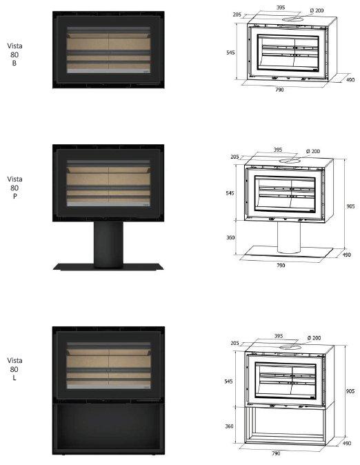 Freestanding Vista 80 series dimensions