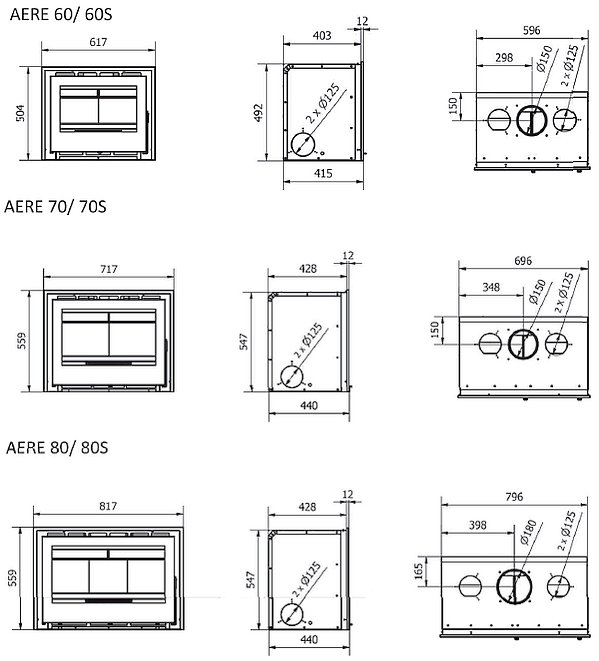 BOSQ Aere In-Wand Serie Dimensionen