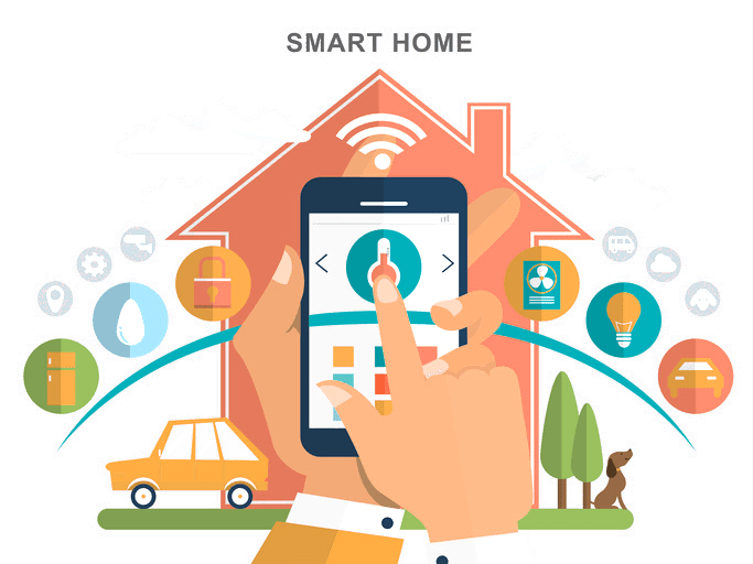 Simple smart home graphic with example of use with smartphone