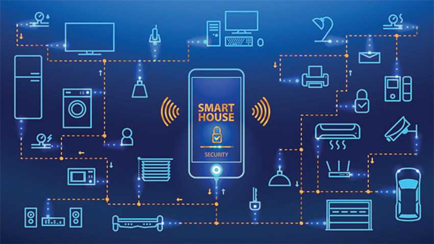 Modern smart home application graphic including smartphone communications with the system.